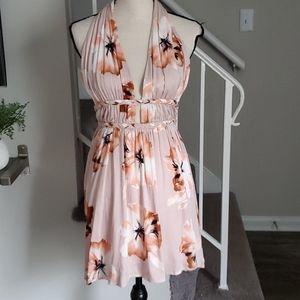 ILLA ILLA Blush Pink Floral Backless Halter Dress